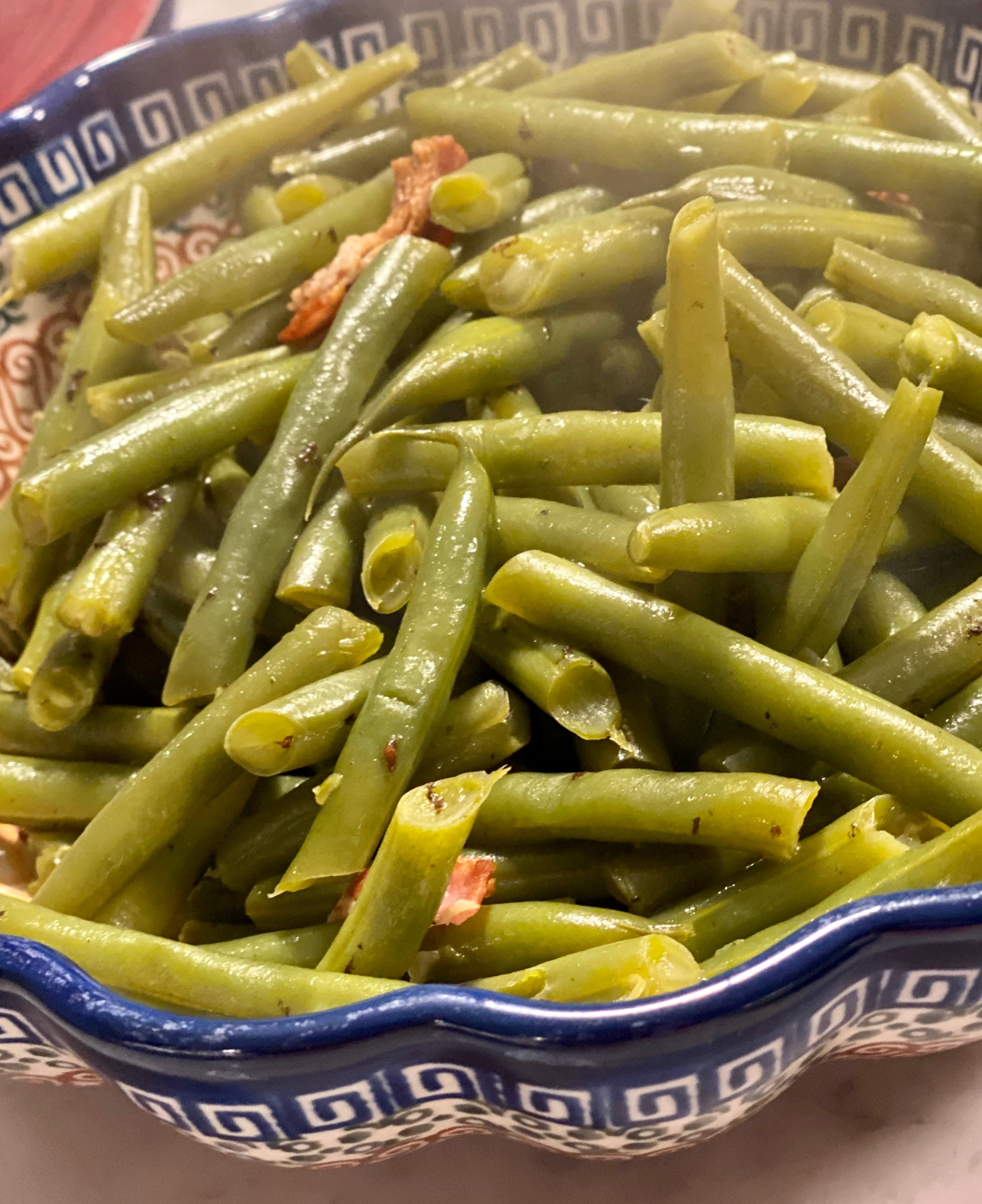 Recipe for green beans with bacon.